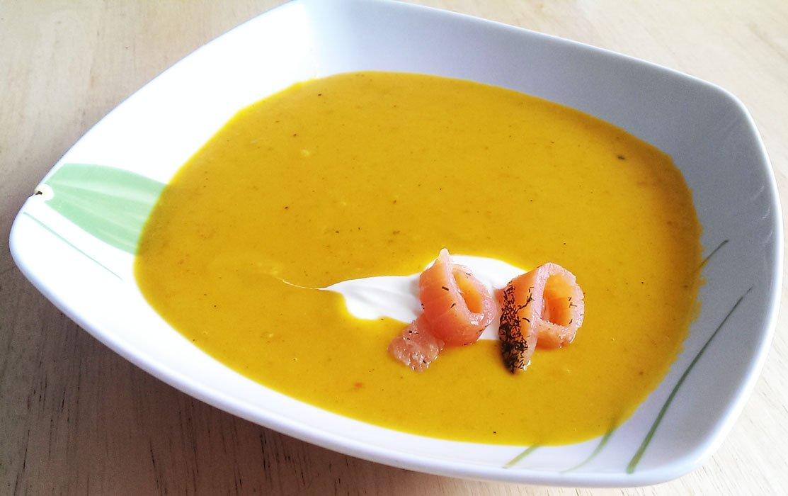Kürbissuppe mit Lachs
