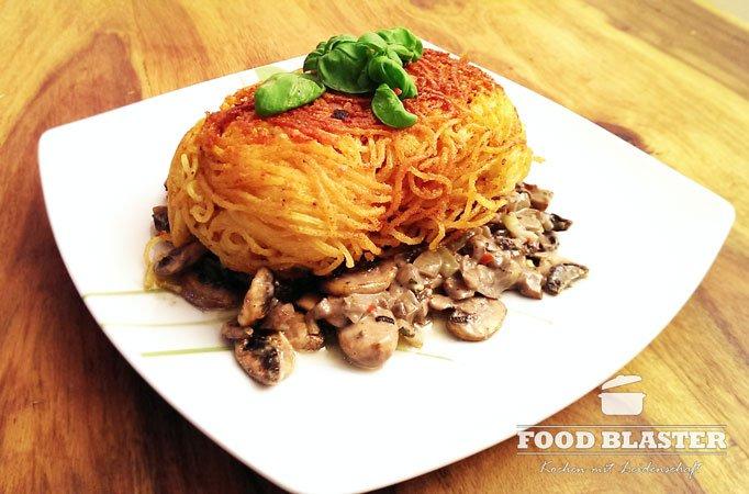 Spaghettifisch auf Champignon-Rahm-Soße