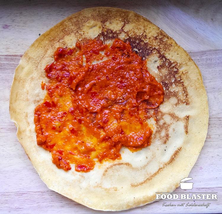 Maismehlpfannkuchen mit Ajvar